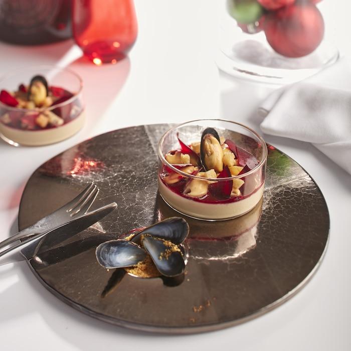 pana cotta au foie gras de c dric b chade une recette pour les f tes. Black Bedroom Furniture Sets. Home Design Ideas