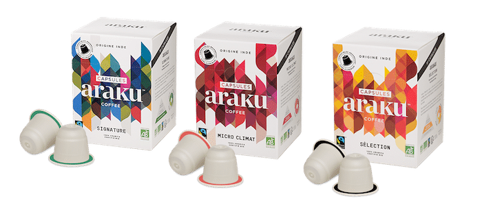 3 cafés Araku en capsules biodégradables
