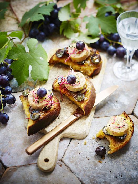 recette de crostinis de foie gras aux raisins