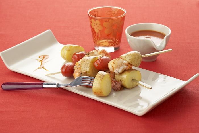 recette de pommes de terre en brochette