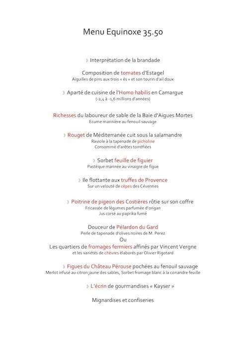 menu 50 ans Alexandre