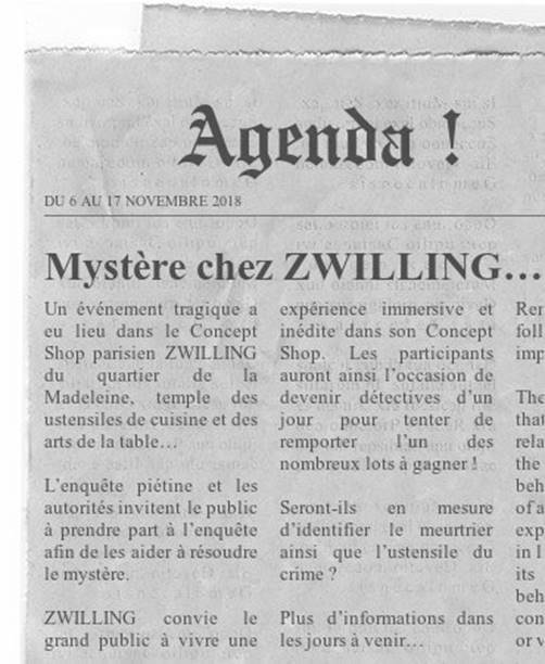 Murder party chez Zwilling