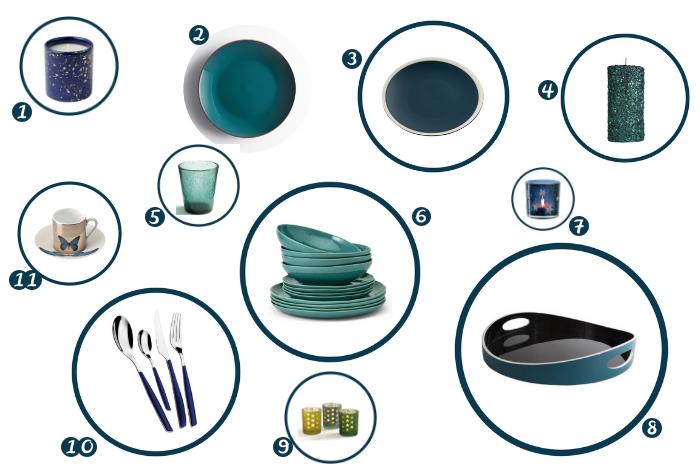 Une table bleue et verte