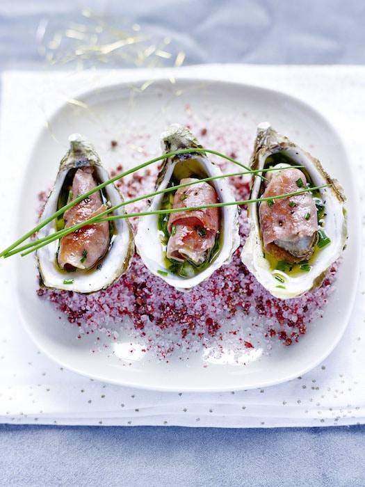 Huîtres snackées au jambon de Bayonne