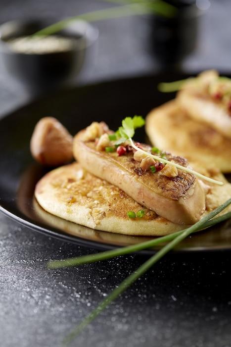 Pancakes de Pompadour au foie gras poêlé