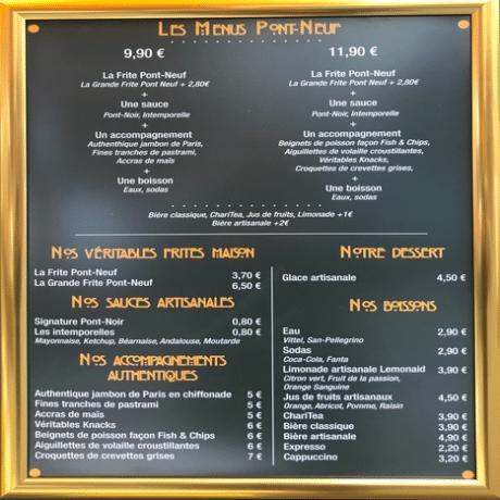 Menu La frite française