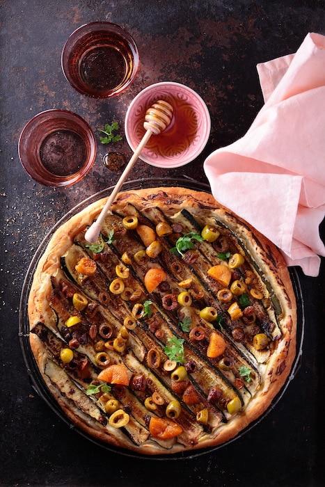 recette de tarte courgettes et olives
