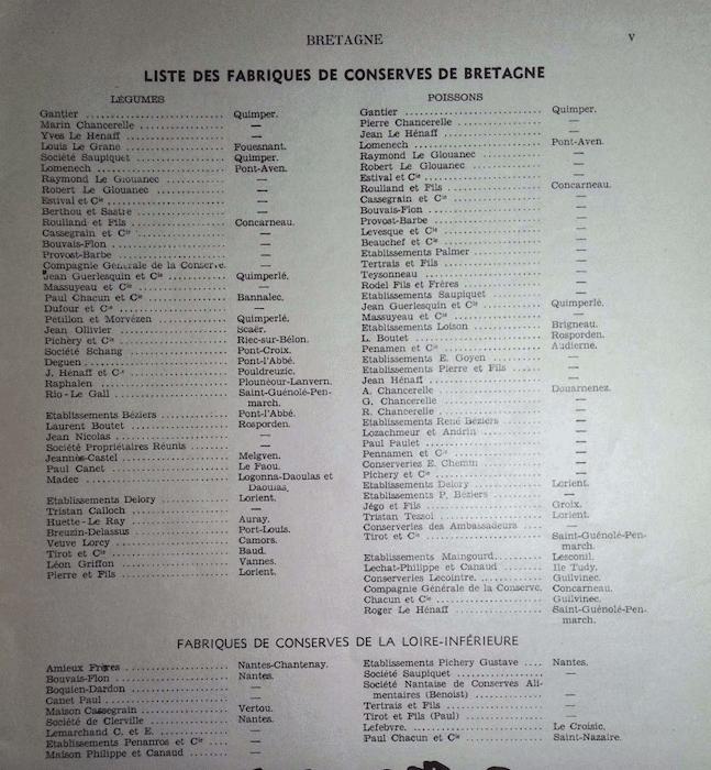 histoire des conserveries du Finistère