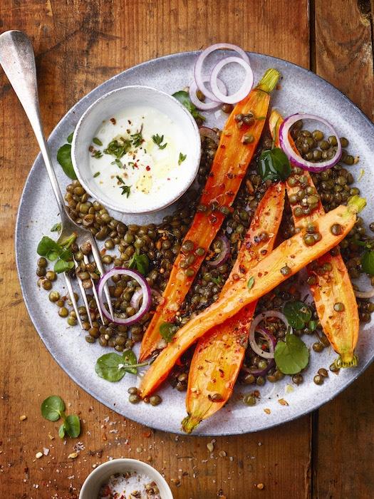 carottes rôties aux lentilles