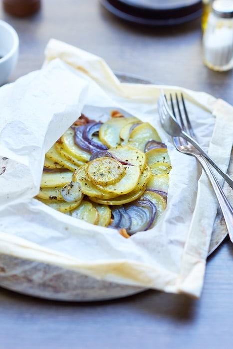 recette de Pommes de terre en papillote
