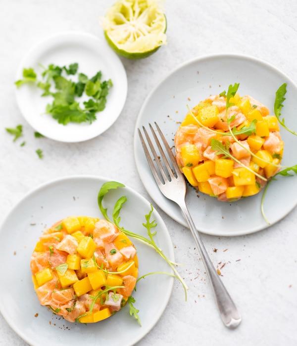 recette de tartare de saumon à la mangue