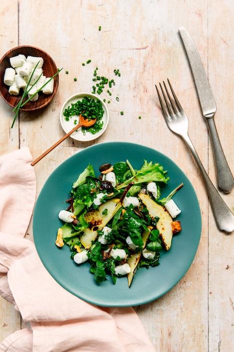 recette de Salade aux poires et au chèvre