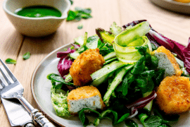 Salade d'asperges aux chèvres panés