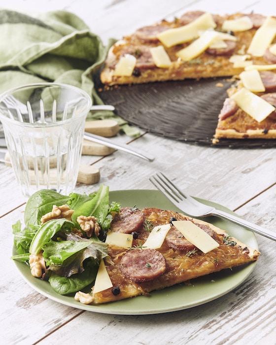 recette de Tarte fine de saucisse de Morteau