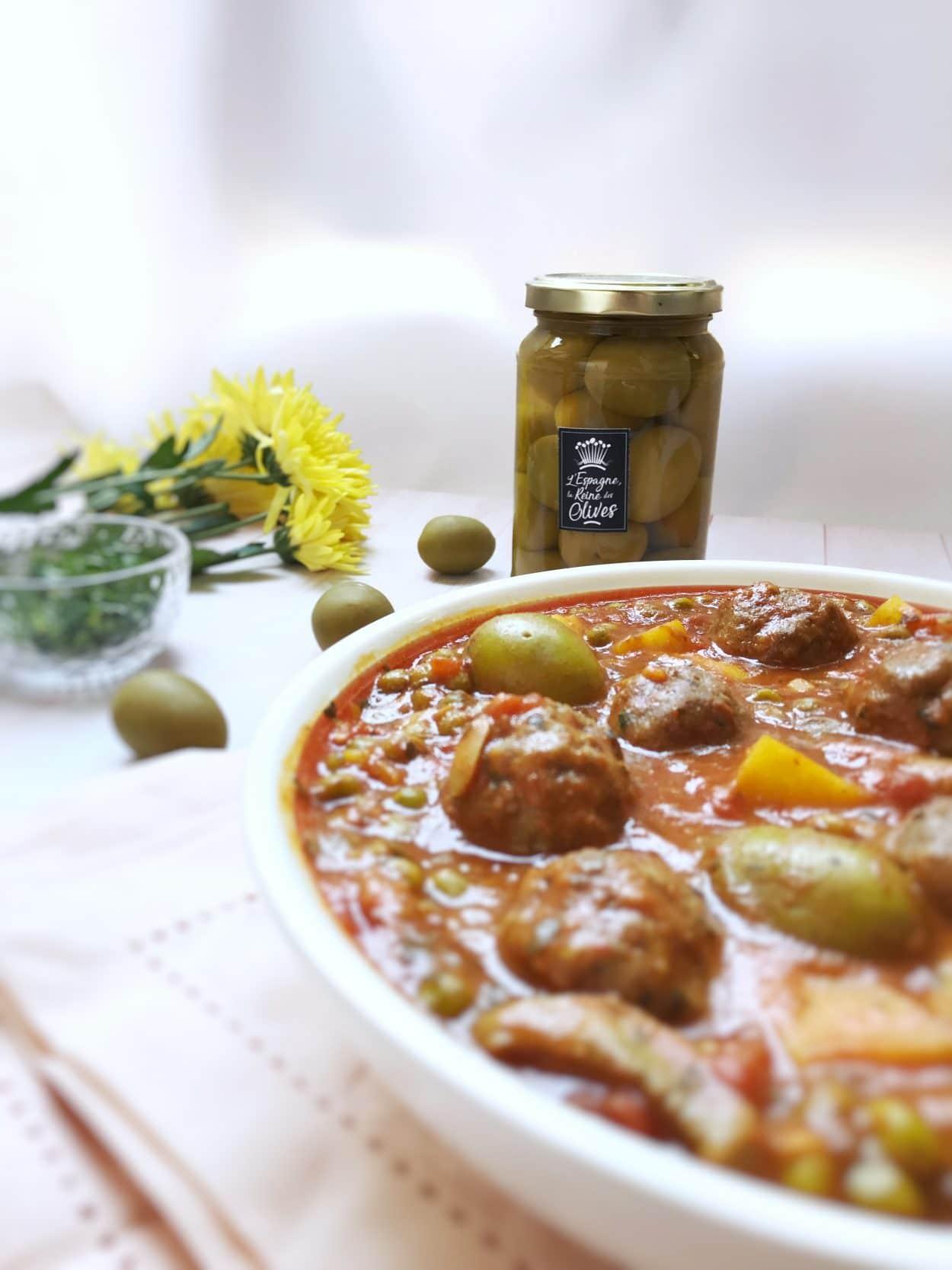 recette de Boulettes de boeuf aux poivrons et olives