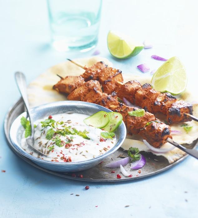 recette de Brochettes de poulet Tandoori