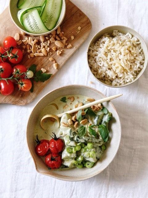 recette de Curry vert au concombre sauté