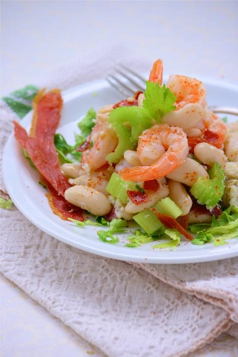 recette de Salade terre-mer aux haricots