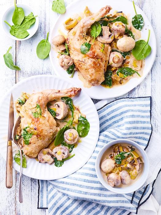 recette de Lapin crémeux aux champignons