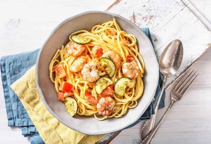 recette de Linguine à la crème et aux crevettes