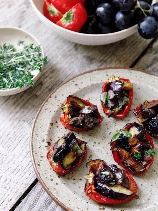 recette de Poivrons farcis à l'aubergine confite