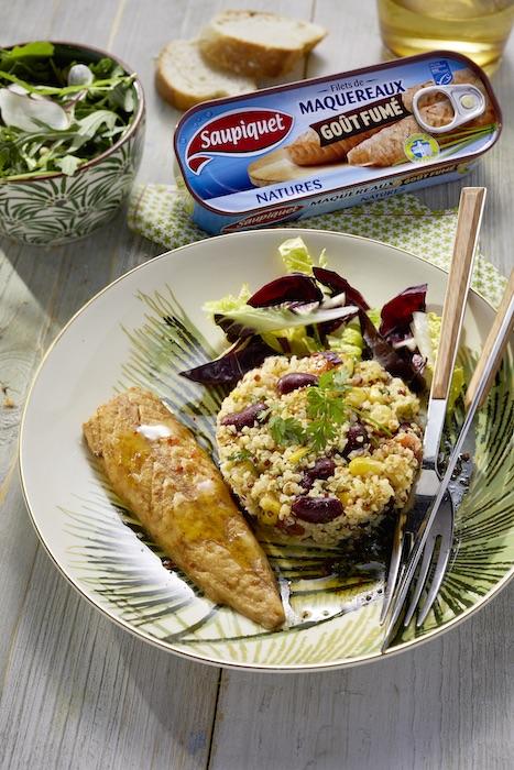 Salade mexicaine et filets de maquereaux