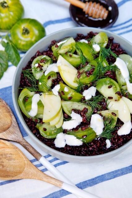 recette de Salade de riz noir au concombre