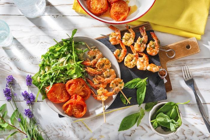 recette de Brochettes de crevettes grillées