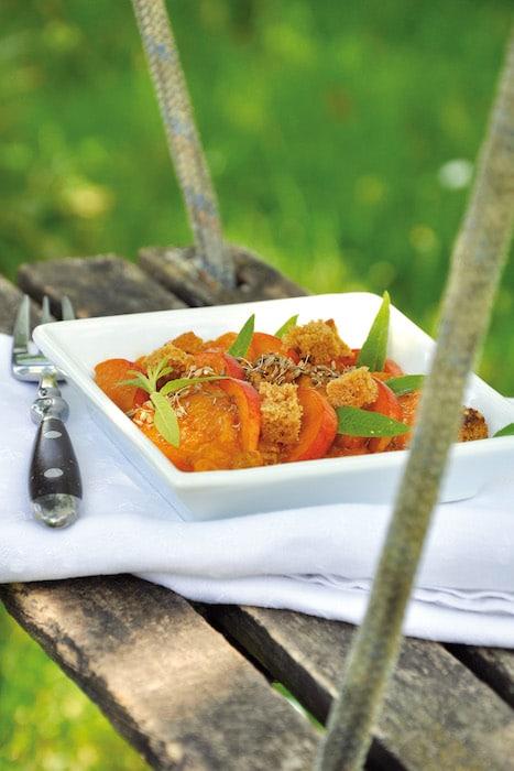 recette de Poêlée d'abricots au pain d'épice