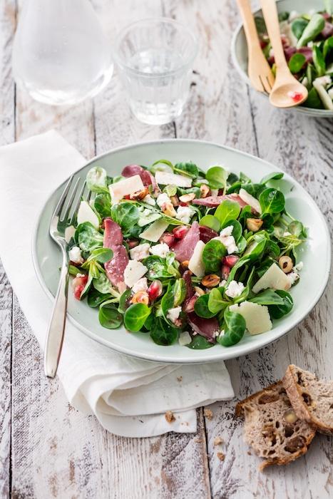 recette de Salade de mâche au magret fumé