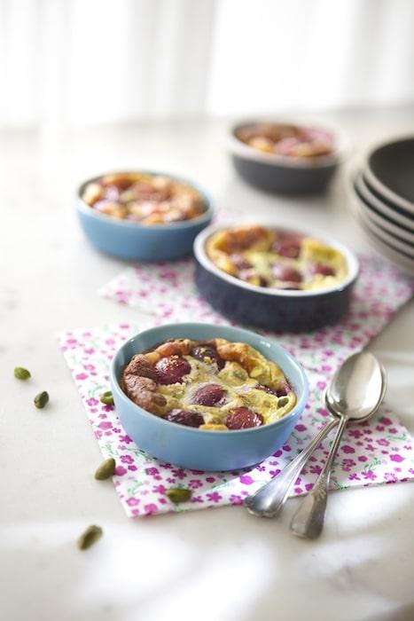 recette de Clafoutis cerises pistaches