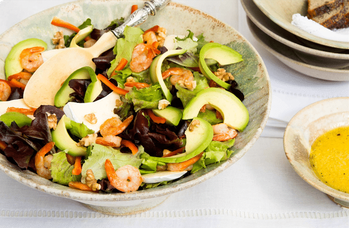 recette de Salade de crevettes sautées