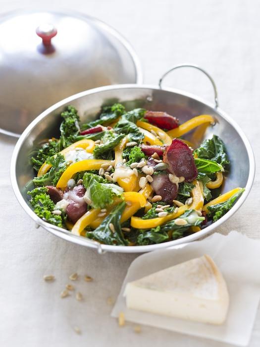 recette de Wok de chou kale au reblochon