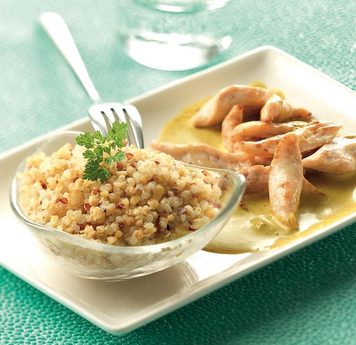 recette de Quinoa et poulet sauce curry