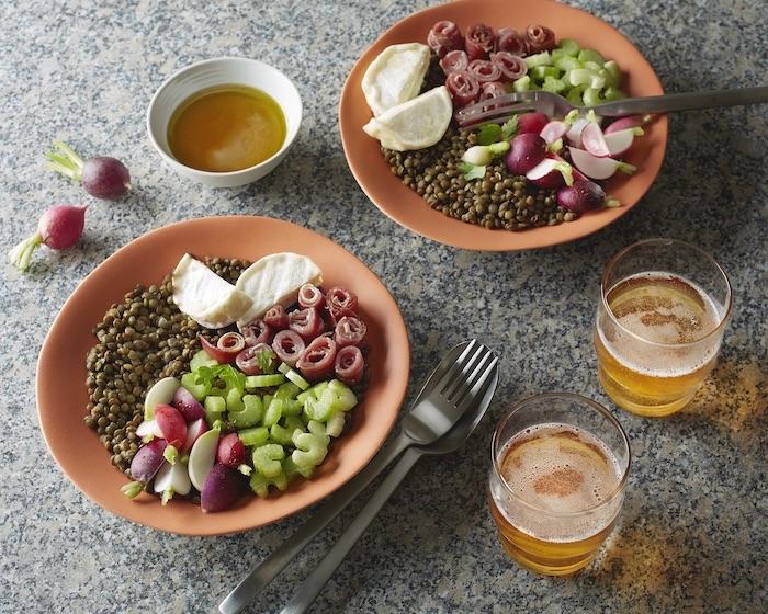 recette de Salade de lentilles et vinaigrette au cidre