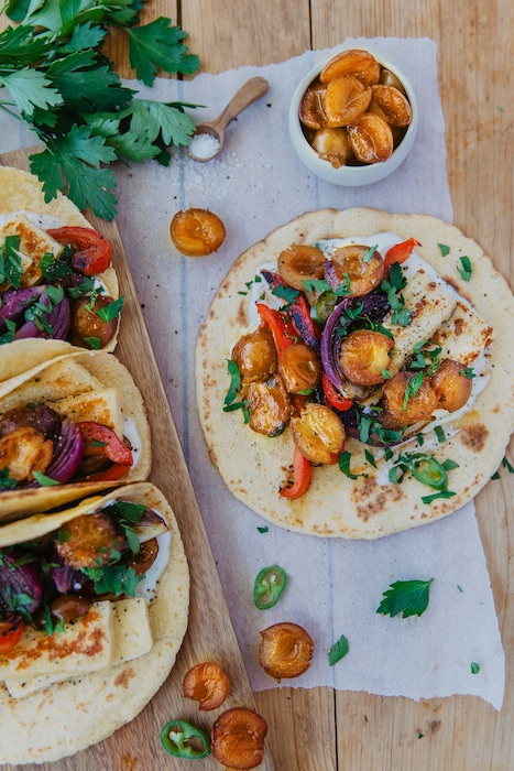 recette de Tacos végétariens aux mirabelles