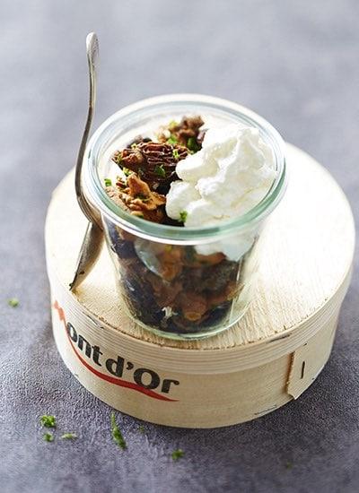 recette de Verrines de champignons au Mont d'Or