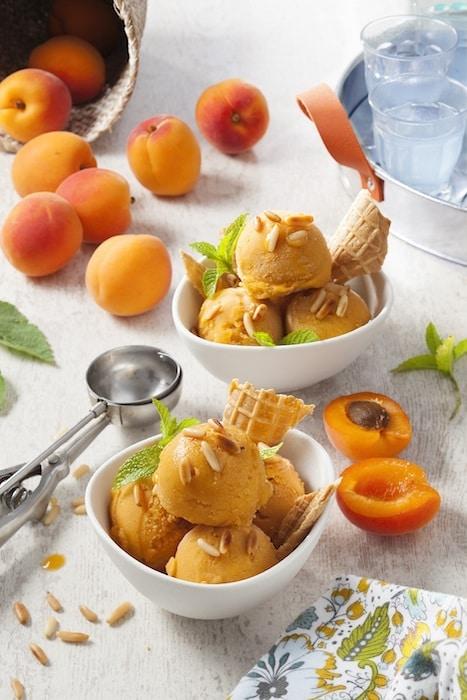 recette de Sorbet aux abricots et aux pignons