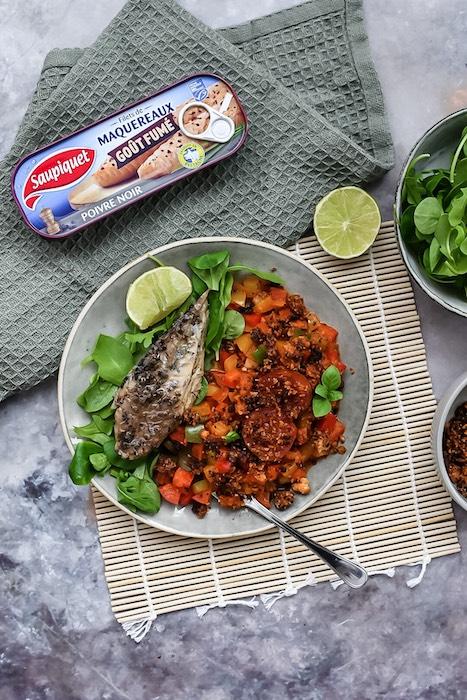 recette de Crumble de poivrons au chorizo et au maquereau