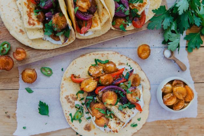 Tacos végétariens aux mirabelles