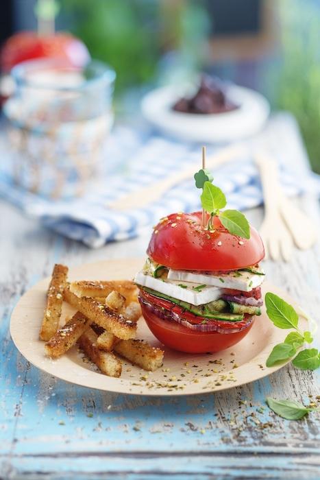 recette de Burgers de tomates au fromage