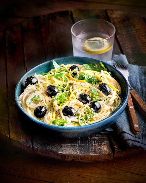 recette de Spaghetti à la crème d'olives noires