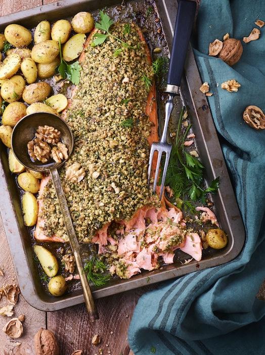 recette de Saumon en croûte de noix