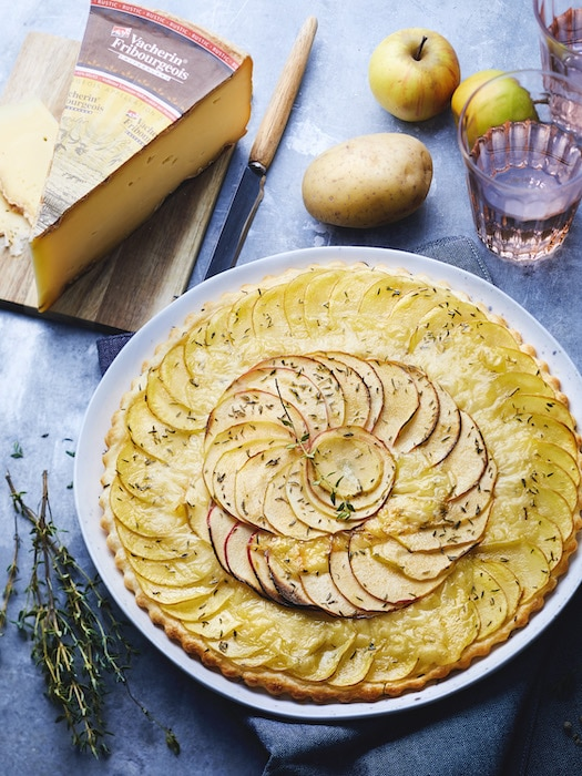 recette de Tarte fine aux deux pommes