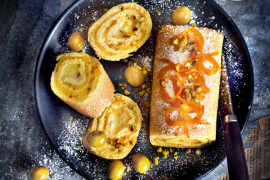 Roulé à l'orange et à la crème d'olives