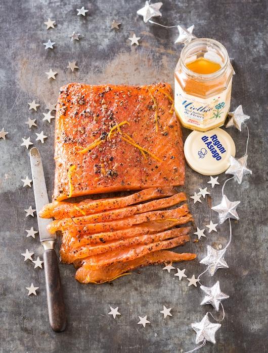 recette de Saumon gravelax au miel d'acacia