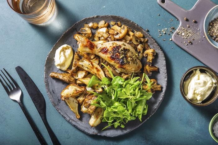 recette de Topinambours rôtis et pilons de poulet