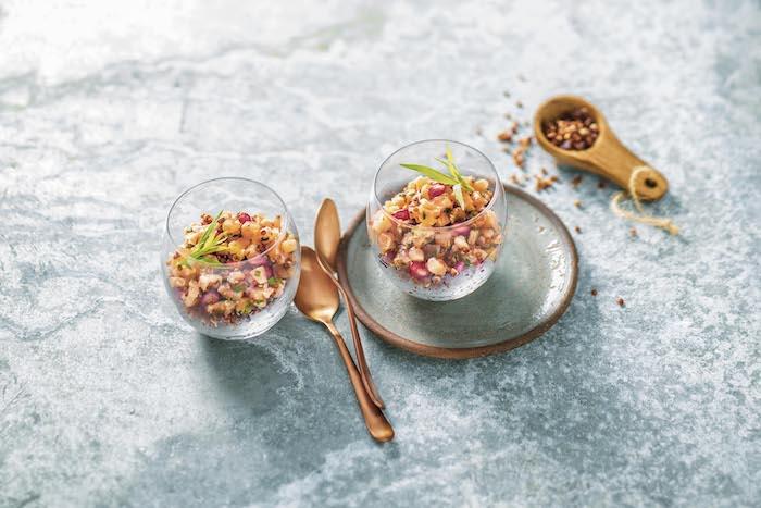 recette de Verrine de saumon au quinoa rouge