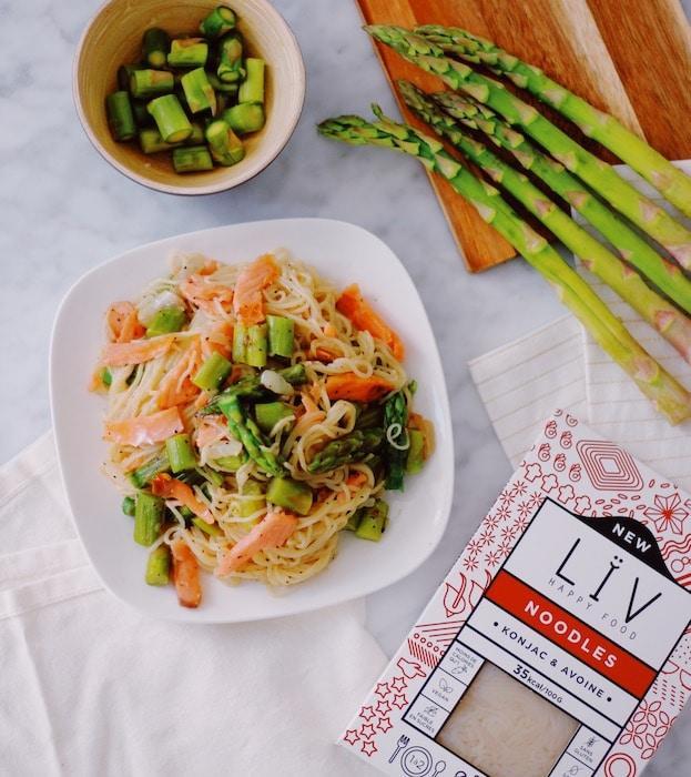 recette de Noodles aux asperges et saumon fumé