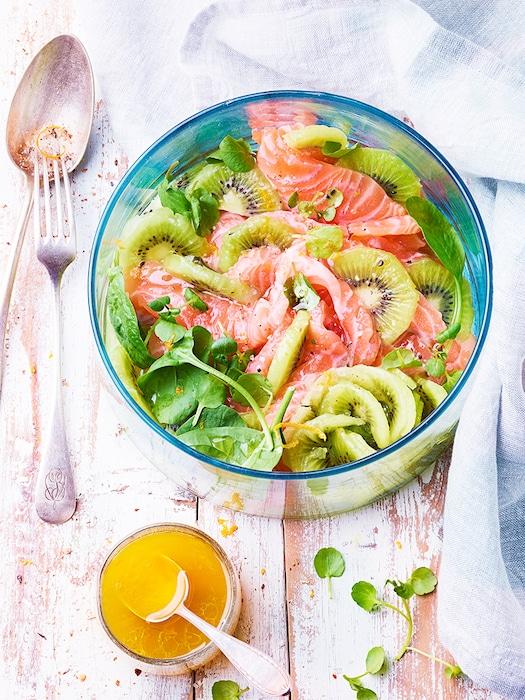 recette de Salade de kiwi et saumon mariné